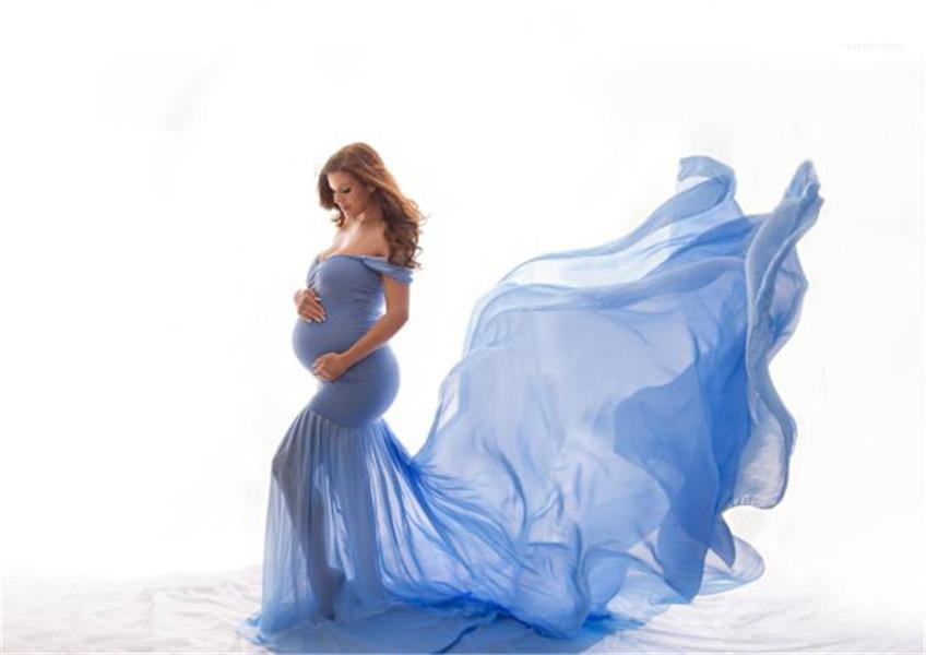 Dress Donne Bercerdized Maternity Dress Sexy off Spalla Solid Color Maxi Drees Donna Donna Photography