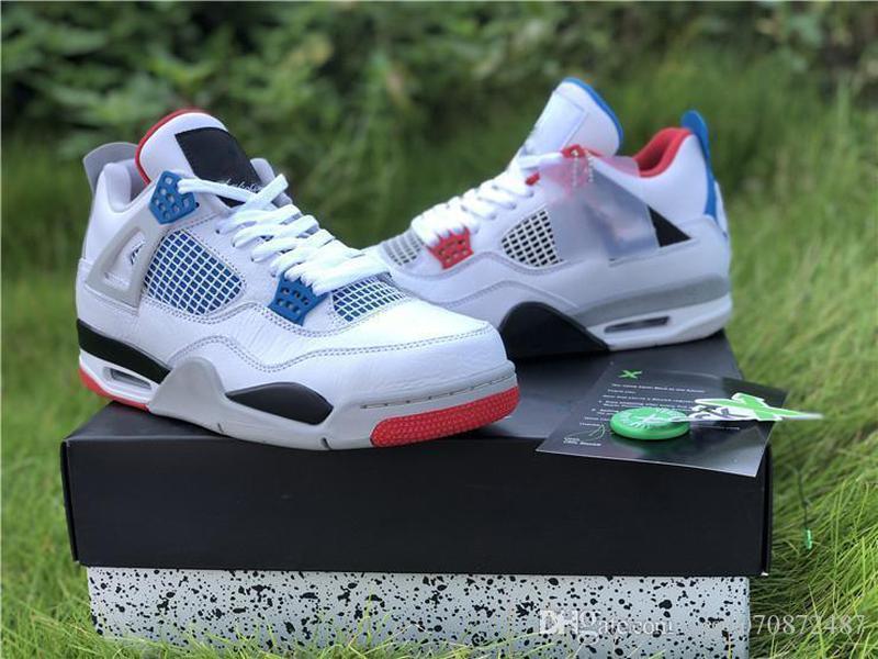 En Yeni Otantik Hava 4 Ne Erkekler OG LOGO Basketbol Ayakkabı Beyaz Çimento Ateş Kırmızı Askeri Mavi Karışım Man Retro Sneakers CI1184-146 ABD 7-13