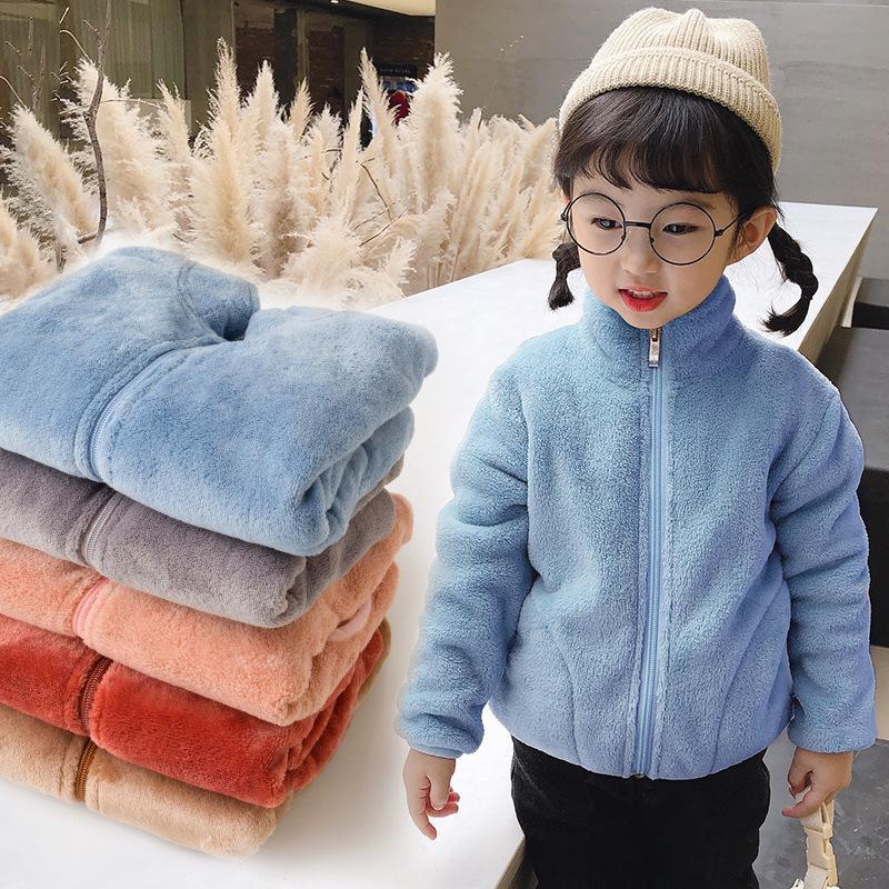 2020 Outono Inverno meninas Plush Coats Crianças macia Turtleneck Outwear manter aquecido Infantil Coral velo Zipper Casacos para meninas Nova