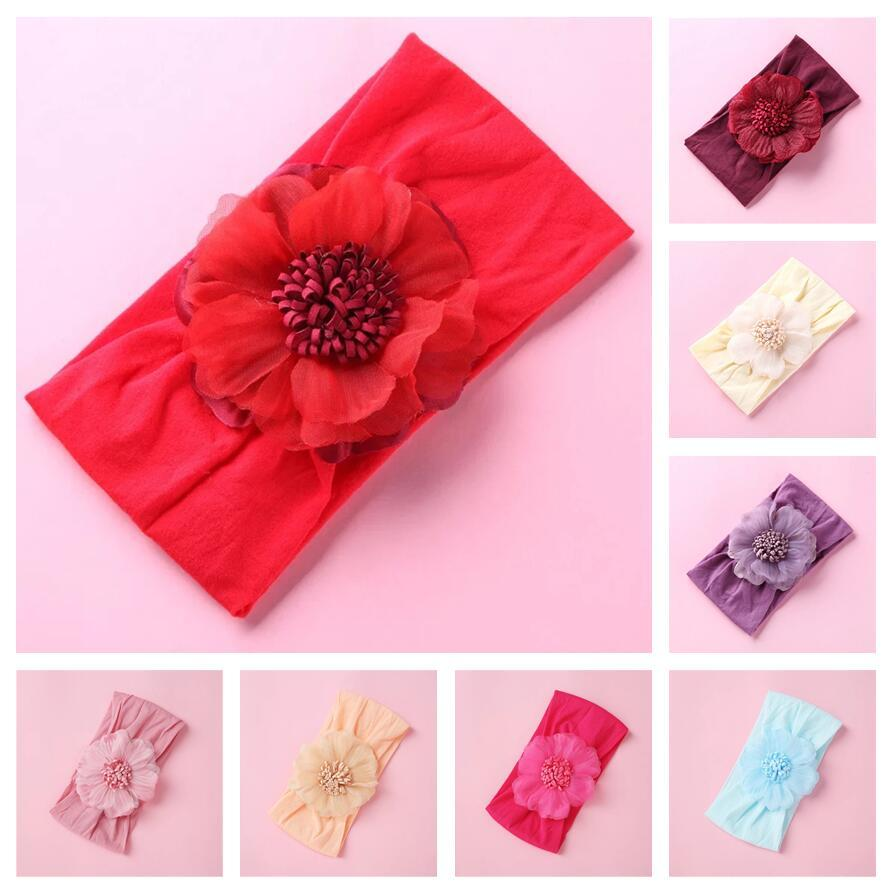 girl Flowers hair band kids Chiffon Flowers Nylon Headbands For Girls baby Turban Headwear Wide Hair bands Toddler Baby Hair Accessories