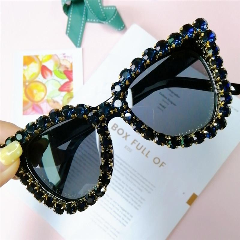Olho de cristal Mulheres Black Cat Blue Diamond óculos vintage Luxo Oversized óculos de sol Female Fashion Shades UV400 Ch01