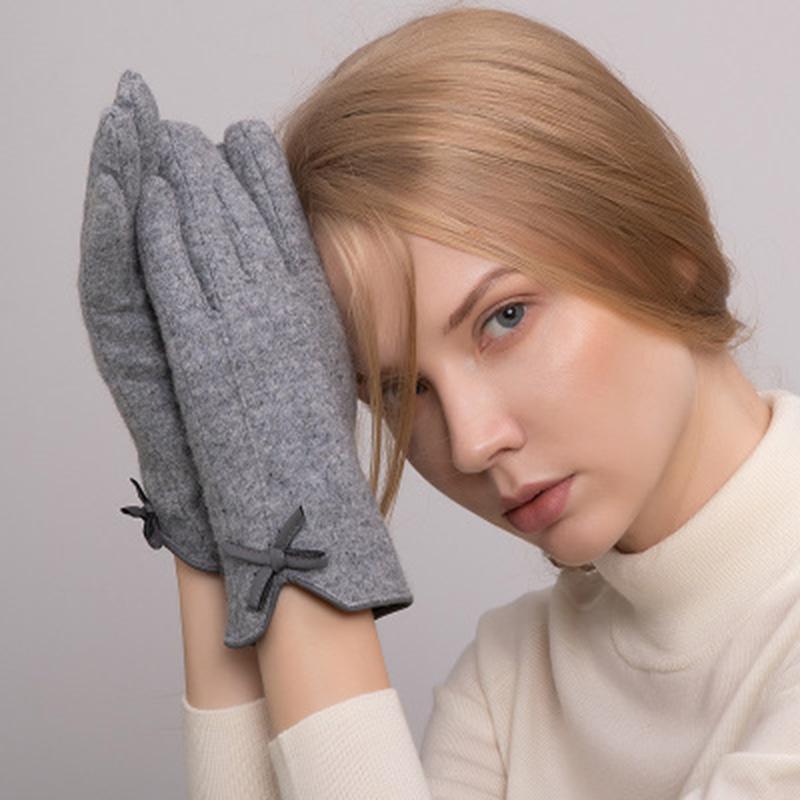 Женщины Сенсорные перчатки Зимние теплые Кашемир Шерсть Варежки Перчатки Женский Лук кожа вязать Вышивка Driving сенсорный экран E40