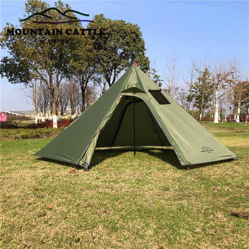 الخيام والملاجئ كبيرة الهرم خيمة خفيفة التخييم Teepee 4Seaning الظهر مع موقد جاك الشتاء المظلات المأوى للطهي birdwat