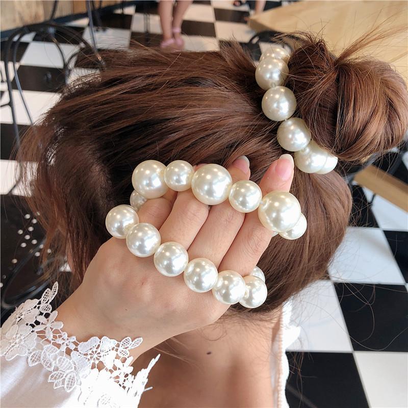 2020 Hot Sale Woman Girls Elegant Colorfull All Pearl Elastic Hair Bands Sweet Hair Ornament Headband Scrunchie Fashion Hair Accessories