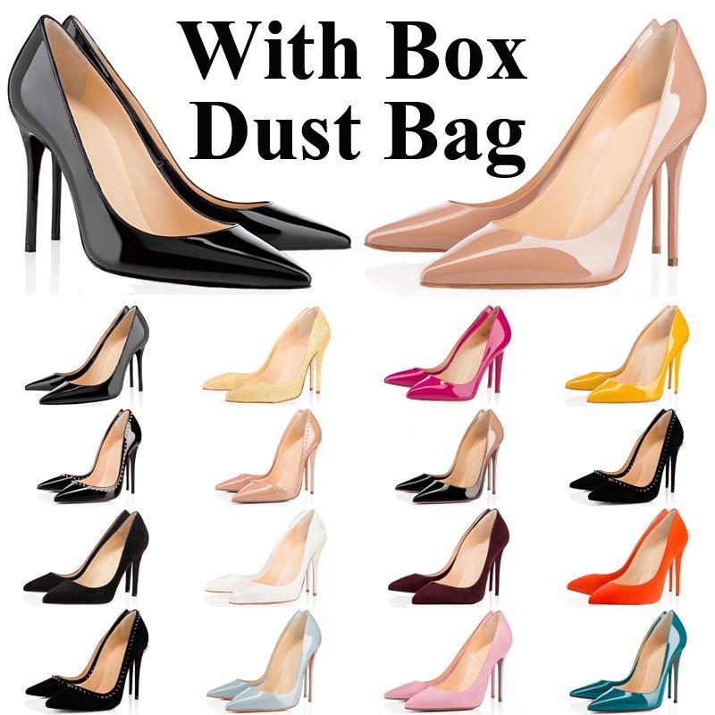kırmızı dipleri topuklu tasarımcı lüks marka kutusu ile ünlü toz torbası üst yüksek alt moda kadın rahat ayakkabılar vintage luxe glitter sivri