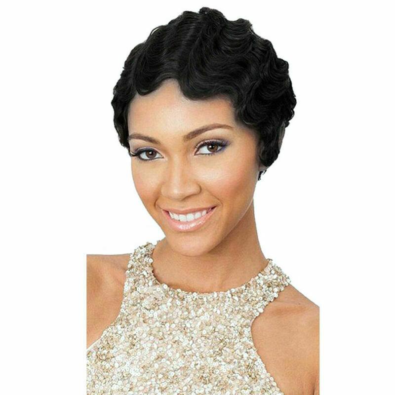 Cheveux courts Noir Mode Afro perruque frisée Pexie Wave coupe perruque pour les femmes noires