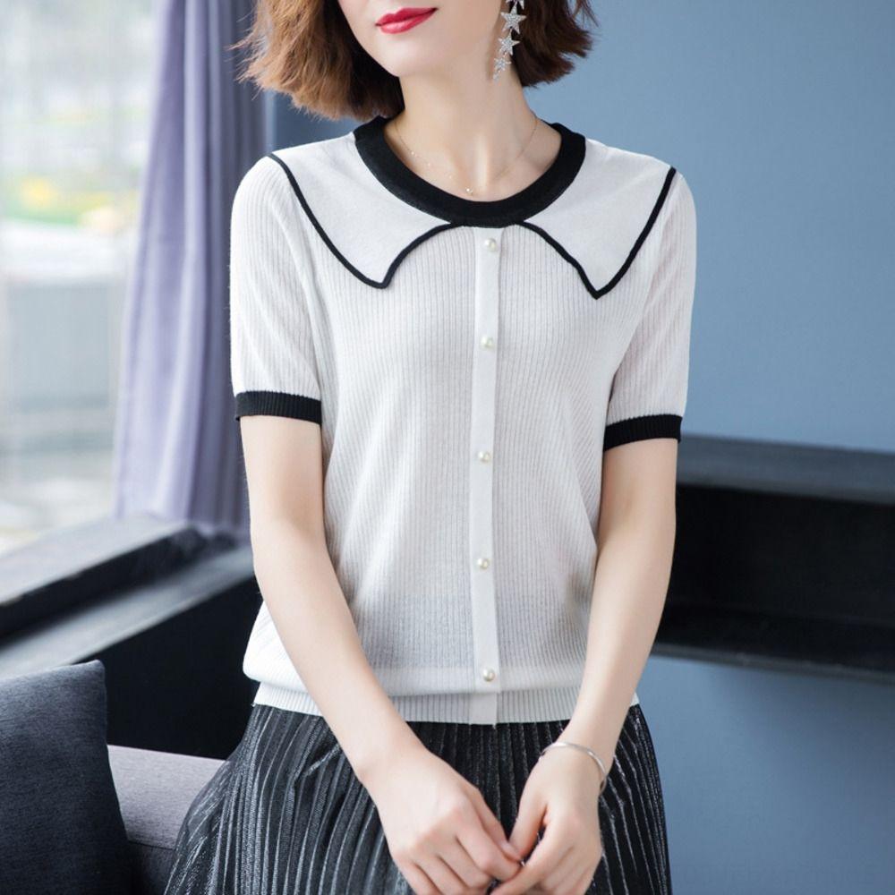 couleur contraste de style YE4IU col poupée à manches courtes T-shirt chandail tempérament lâche féminin de 2020 femmes d'été tricot poupée nouveau tricot