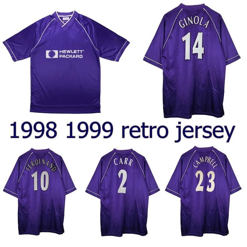 1998 1999 Les Ferdinand Ginola Retro Jersey 98 99 Anderton Armstrong Sol Campbell Carr Vintage Camisa de Futebol Clássico