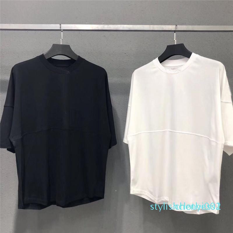 2020 neue Mens-T-Shirts T-Schläger Hülse Männer und Frauen Aufmaß lose runde Kragen Ellenbogen Hülse T-Shirts s002