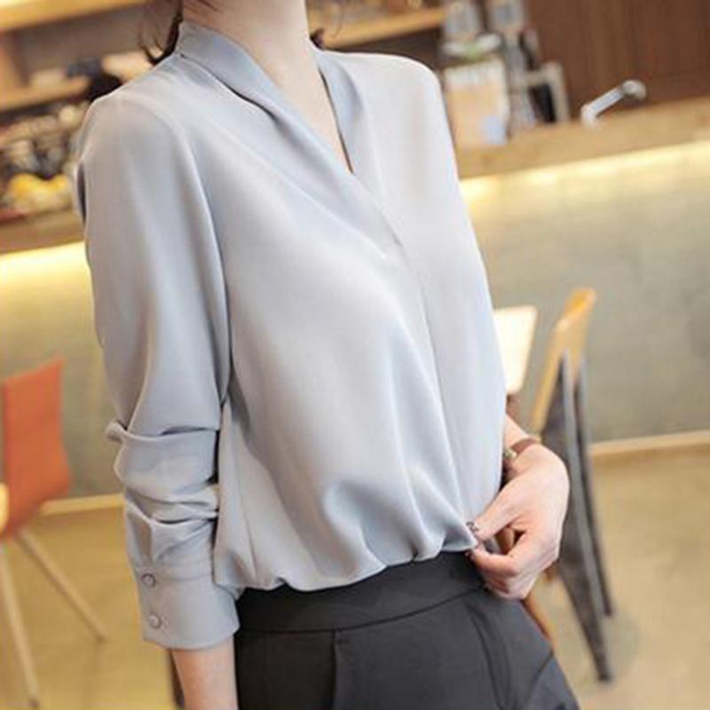 Mulheres Chiffon camisas desenhista elegante doce senhora do escritório Estilo coreano Blusas 2020 Primavera manga comprida V Neck solta Tops causais