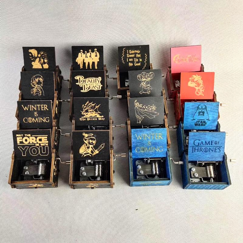 크리 에이 티브 고전적인 나무 뮤직 박스 모든 종류의 사진은 Ingraved 손 동기 해리 Poters 장식품 뮤직 박스를 흔들어