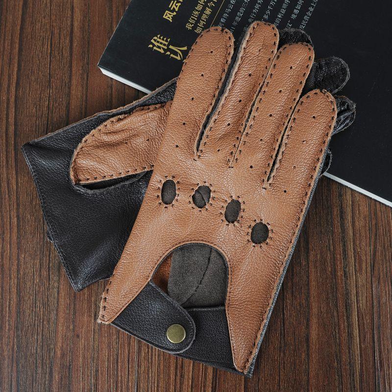 Neues Ankunftsfrühling echtes Leder für Männer, Ziegenfell Handschuhe ungefüttert moderne Qualität, freies Verschiffen fahren