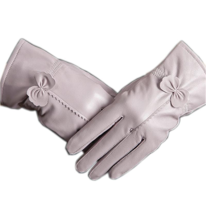 Guantes de piel de oveja de cuero de calidad guantes de arco cuero genuino de las mujeres engrosamiento delgada