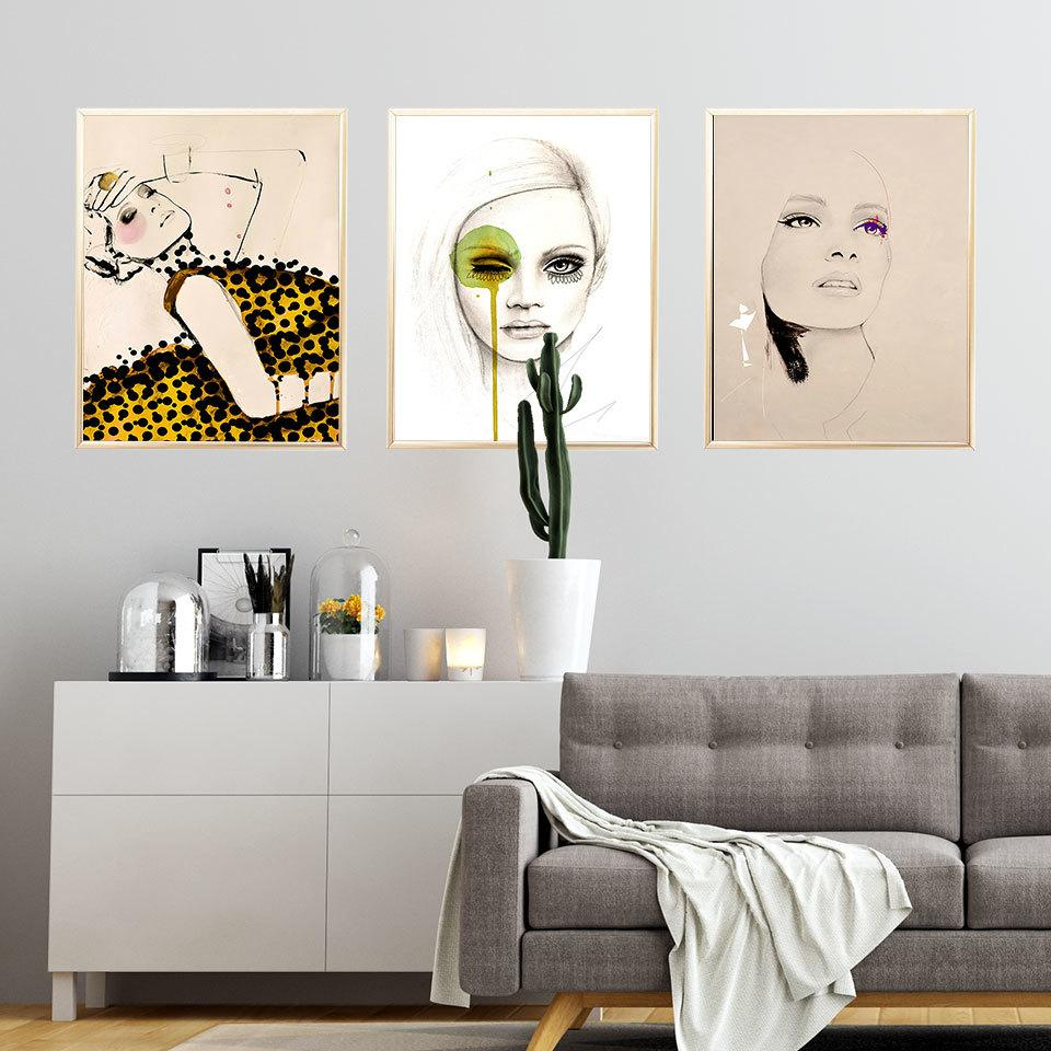 Wall Art Pictures For Salon Modern Dekoratif Baskılar On The Duvar Unframe Boyama Moda Kız Nordic Poster Kanvas Şekil