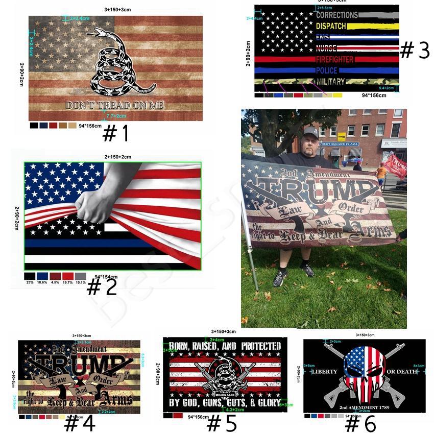 Nova personalizado Bandeira Trump 2020 90 * 150cm A polícia dos EUA Bandeiras 2nd Amendment A bandeira de Gadsden bandeira americana Vintage Flags CYZ2802