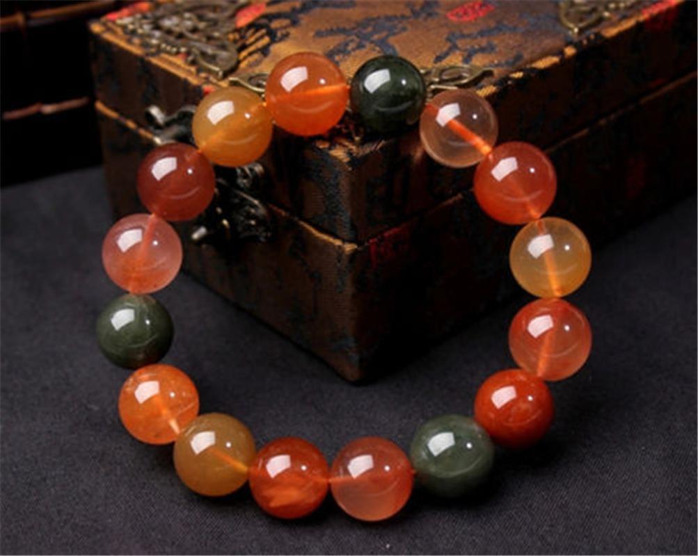 Genuine Natural colorido Rutilated Quartz Crystal Healing Gems estiramento rodada Bead aptidão Bracelet Mulher Homens 10 milímetros 11 milímetros 12 milímetros