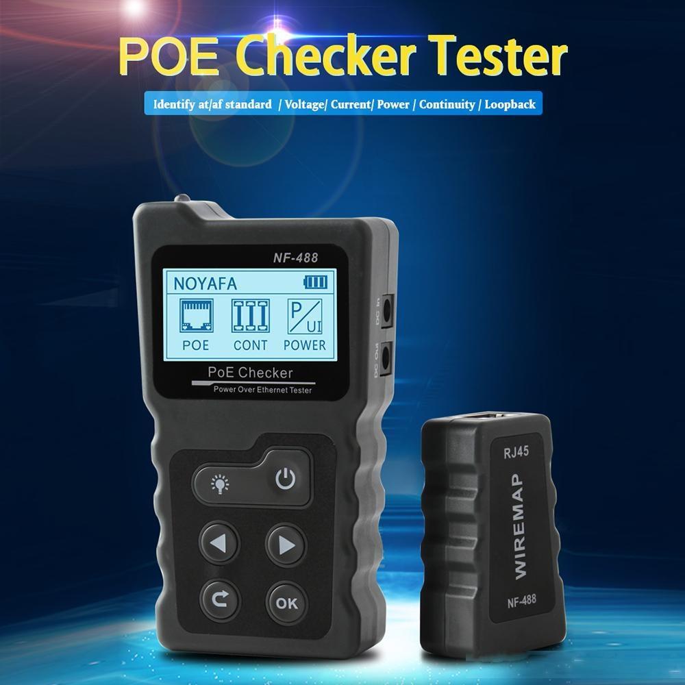Сеть Сетевые средства Многофункциональный ЖК сетевой кабель PoE Checker Инлайн PoE напряжения и тока тестер с Кабельный тестер