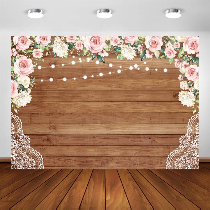 Sfondo Nuziale doccia per Fiori photography Festa di compleanno decorazione Fondo Rustico Wedding legno Photo Booth parete Fondali