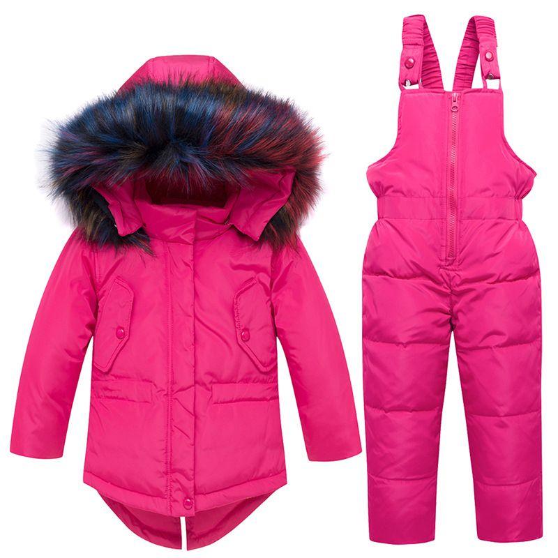Enfants d'hiver Vestes Sweats à capuche Habineige duvet de canard Costume de ski pour les filles Costume neige Tenues Wear neige Jumpsuit Définit Manteau Habineige