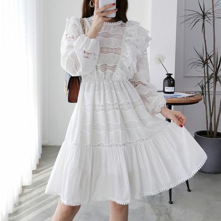 DoKLo x2uYq 2020 Kleid Frühling und Herbst Kleid Gesticktes schwere Arbeit Stickerei Spitze lange Hülse früh Französisch-Stil neuer König weiß 9125