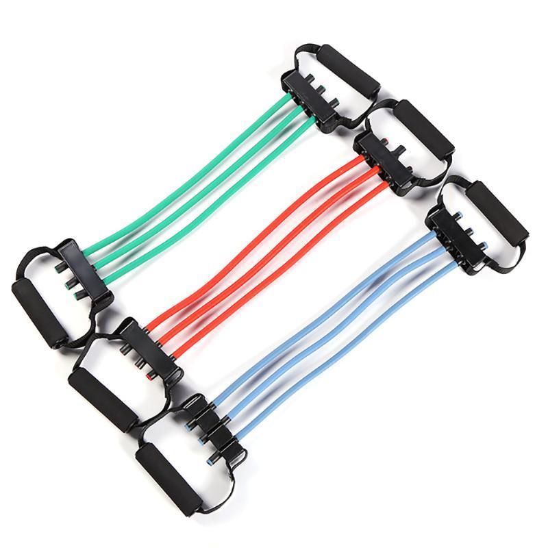 Indoor Sport Extensor de pecho tirador de la aptitud del ejercicio de Crossfit la resistencia del entrenamiento de la cuerda de Yoga 3 bandas de resistencia color al azar