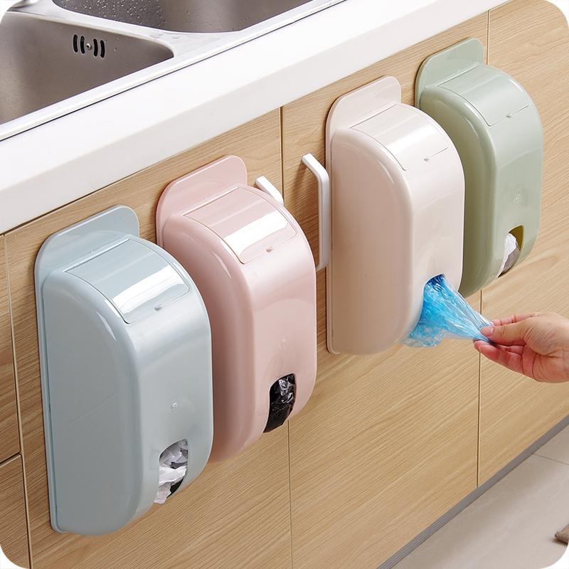 Самоклеящийся пластиковый организатор мешок для мусора ящика для хранения стена висит отделку кухни мусора коробка домашнего декора