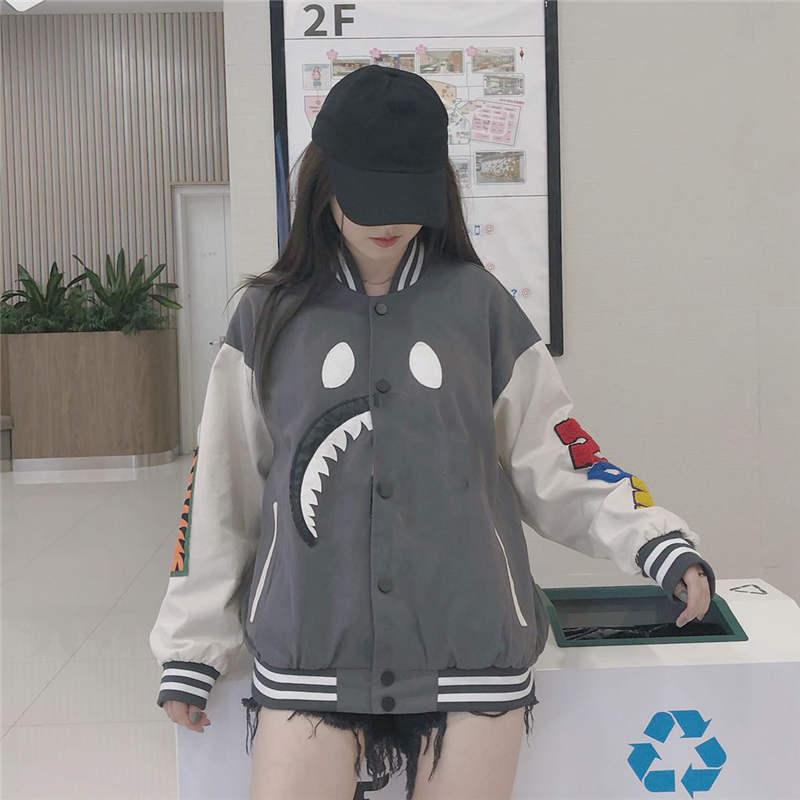 Erkek ceketler Hip Hop Streewear Bahar Kış Coat Erkekler Ceket Palto Desen Köpekbalığı Ağız Unisex WINDBREAKER Yüksek Kalite