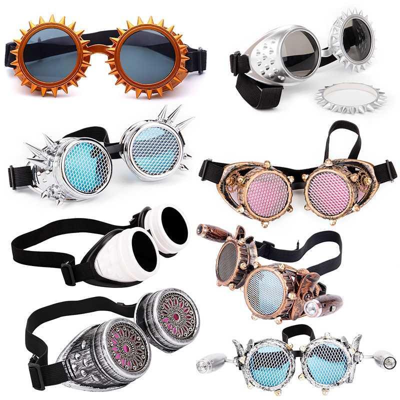 Стеклянные красные очки Линзы SteamPunk Blue Party Fashion Skestes Rave Festival EDM с Lelinta Cosplay Punk Vintage Desgin Eyewear Hmpvj