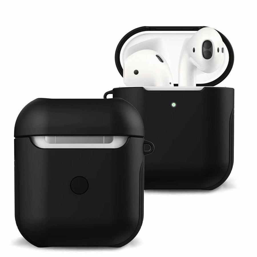 2 en 1 souple TPU + DUR PC Portable antichocs de couverture de cas de protection en silicone peau cas de couverture avant LED Visible pour AirPod 2 et 1