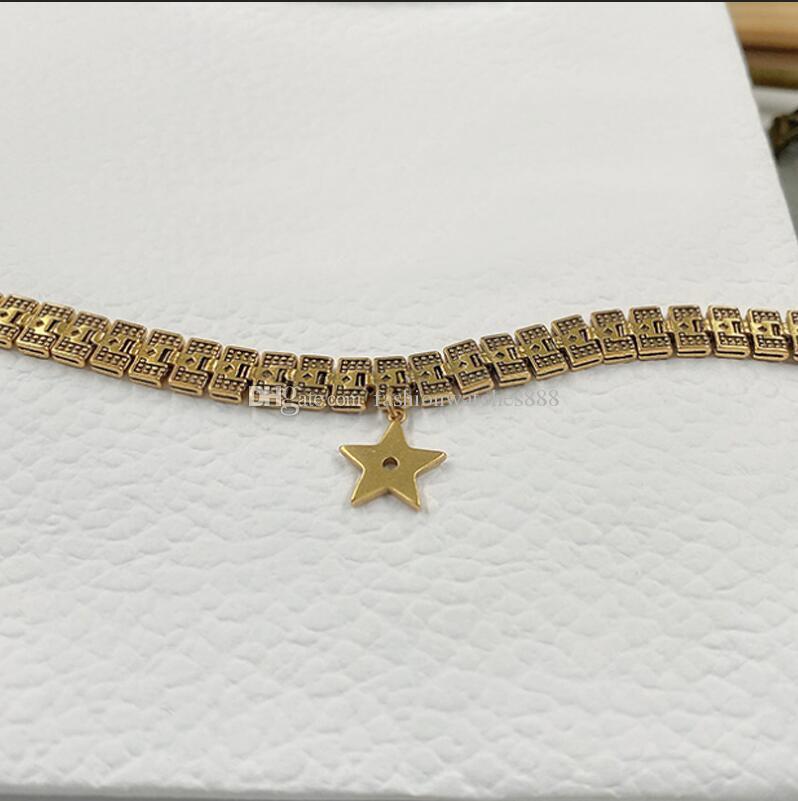 Neuer Luxus-goldener Stern breite Halskette Brief Armband weibliche Claviclehalskette hochwertiger Stempel Geschenk