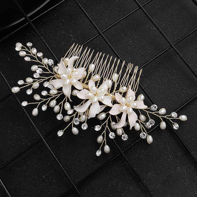 Forma nova coreano Moda Flor artesanal de cristal simuladas pérolas Cabelo Combs Mulheres Noiva Noiva Cabelo Festa de casamento Jóias