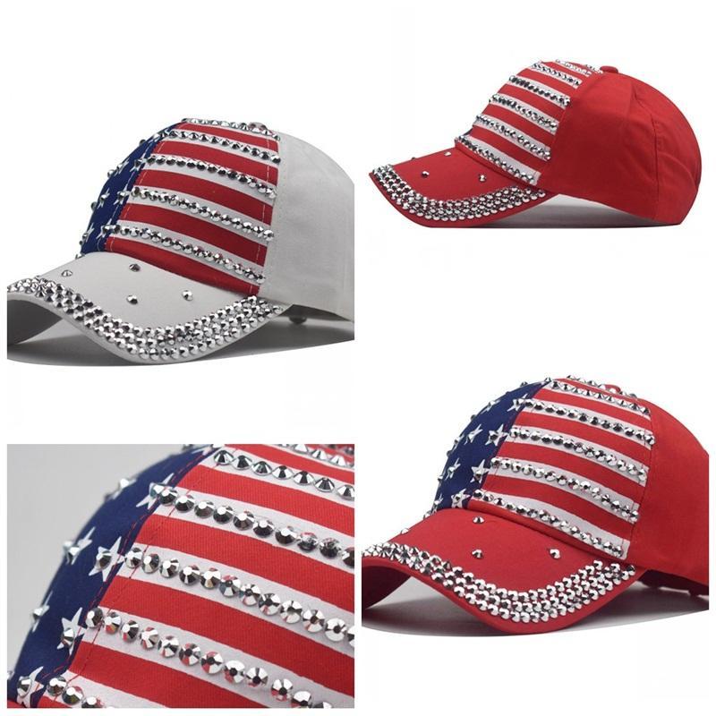 Hommes Femmes Casquettes Impression Trump chapeaux strass Casquette de baseball de broderie USA National Mode Drapeau Rouge Bleu Blanc 10 9NX F2