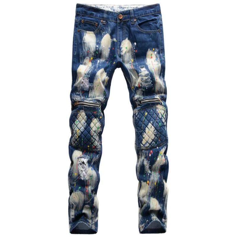 2020 Diseñador agujero cremallera Pantalones vaqueros de los hombres de moda de la mano de bienvenida de pintura empalmado remiendo del punk rock Rock Star Vaqueros rectos w1085