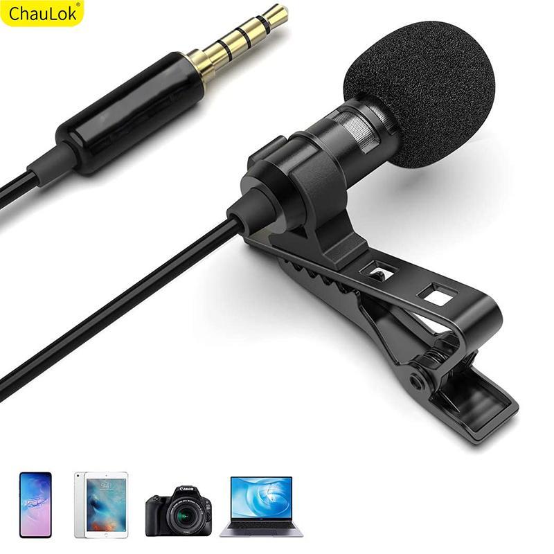 Profesional micrófono de solapa para Samsung 3.5mm Clip conector de audio de grabación de vídeo de la solapa On Mic para Huawei YouTube