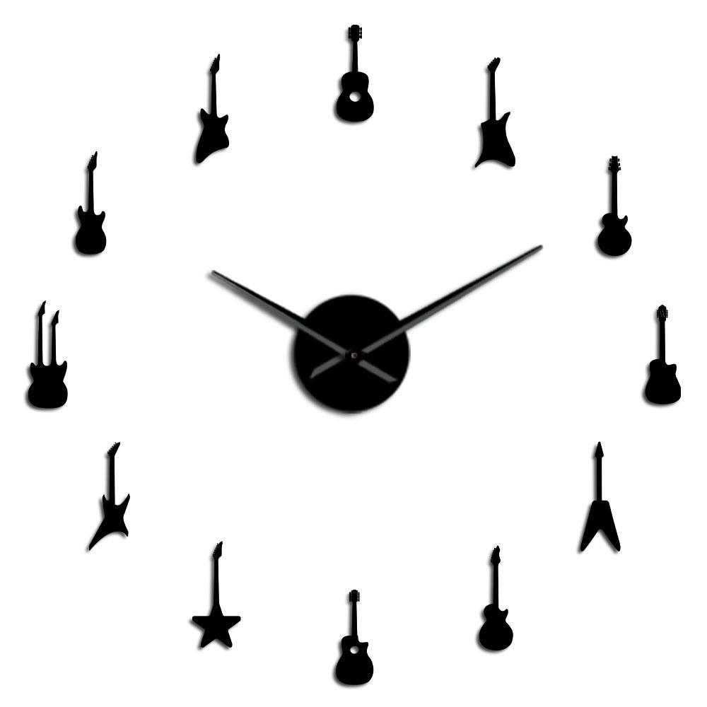 Rock Recados Needles guitarra relógio relógio DIY Decor gigante Assista Variety guitarra Big música N Music Room Frameless Wall Wall rolo FsSLF Grande