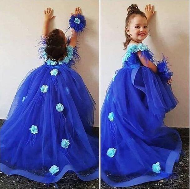 로얄 블루 얇은 명주 그물 소녀 미인 대회 드레스 긴 기차 꽃 소녀 드레스 소녀 미인 대회 드레스 2020 vestidos 드 올