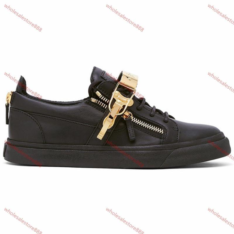 Giuseppe Zanotti High Top Sneaker  Souliers simples Zipper Hommes et Femmes Low Top Chaussures plates en cuir véritable Hommes Chaussures Sneakers Baskets