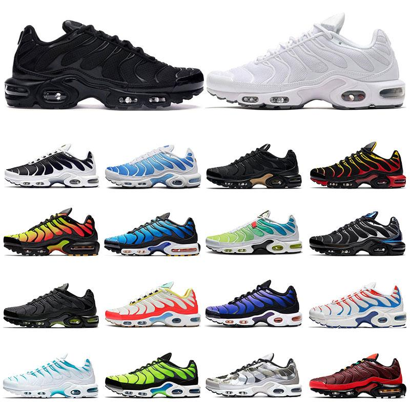 2021 tn Mens Sneakers Running Shoes Black White Oreo Red Hyper Blue Purple Rainbow Volt Gold Sports Outdoor Trainers Fashion Size 36-46