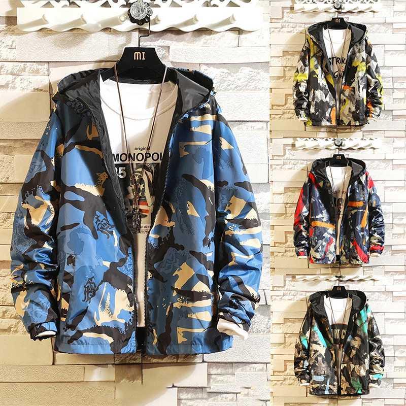 Men's Jackets 2021 Jacket Can Be Worn On Both Sides Hooded Windbreaker Men Women Fashion Outwear Printed Street Hip Hop