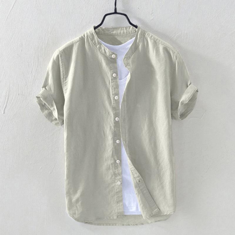 Summer Man Shirt 2020 Vacation Mens Solid Stand Collar Cotton Linen Retro Short Sleeve Loose Hawaiian Henley Shirt hawaiian