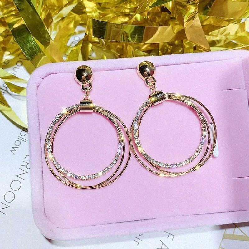Мода серьги Роза женщин 925 серебряные ювелирные изделия пара / комплект Золотой обруч Великолепный u7Wq #