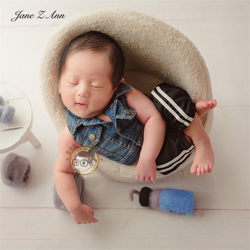 Caps Hats Jane Z Ann Born Born Baby Blue Denim Мода Cool Boy Browns Brother Vest + Спортивные штаны Установить Студия Стрельба Аксессуары
