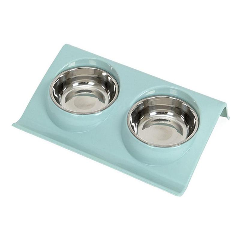 Acier Double Pet Top inoxydable bols d'eau pour l'alimentation Feeder chiot Chats Animaux Fournitures d'alimentation Vaisselle verte