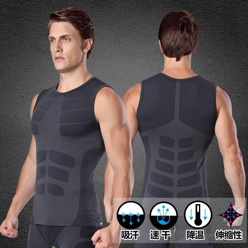Hommes Pro Quick Dry GYM réservoir Compresser T-shirt Fitness exercice Top Sport Run Vest entraînement Tee Beach Yoga Basketball Taille Plus MA16