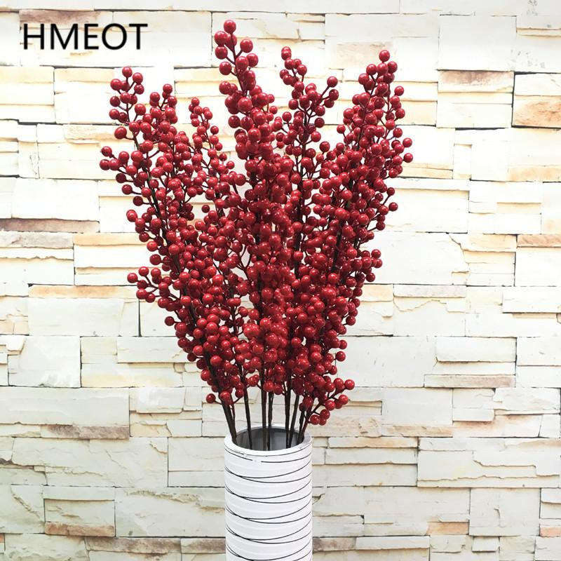 12 Branch Big 1.2M Christmas Berry Red Rich Fruits Artificial plants Branch Foam Fruit Christmas Tree Material Garden Home Decor