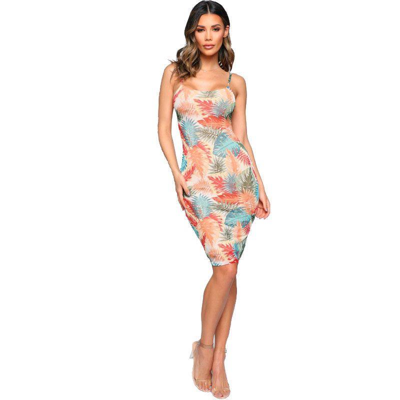 Heißen Verkaufs-Damen-Spaghetti-Bügel Bohemian Kleid beiläufiger Urlaub ärmel Kleid-Sommer-Frauen mit Blumenmustern Kleider Sexy