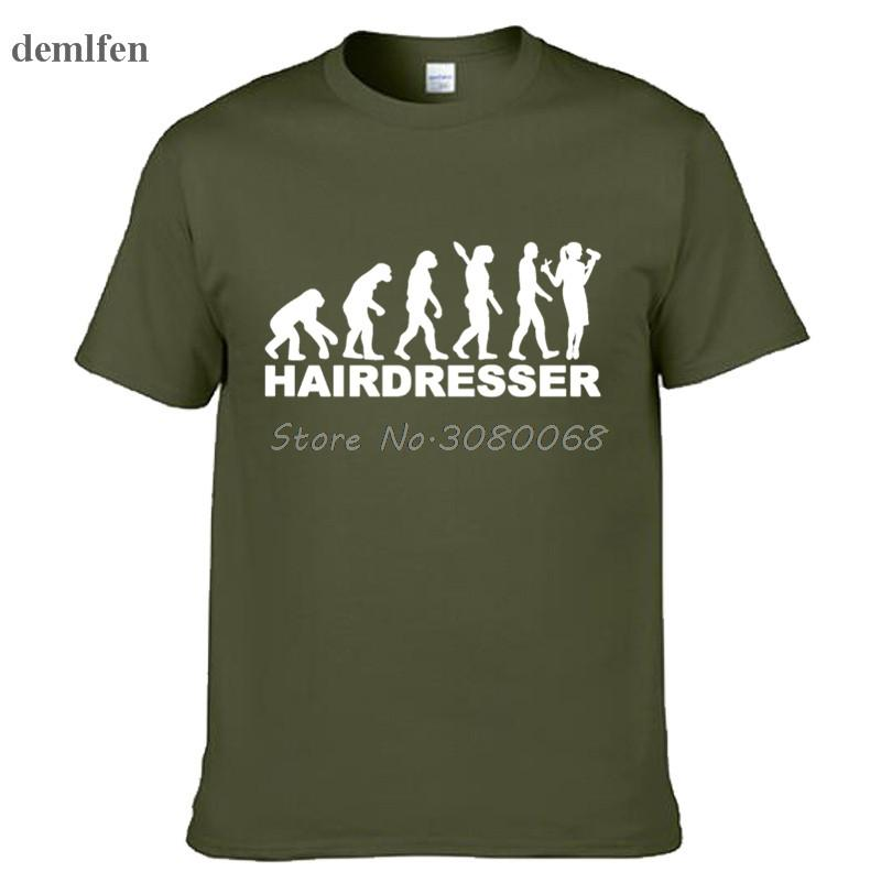 Divertido peluquero Evolución Hombre Camisetas verano ocasional de la manga corta T Camisas Tops impresión de la manga corta de algodón Tees Tees