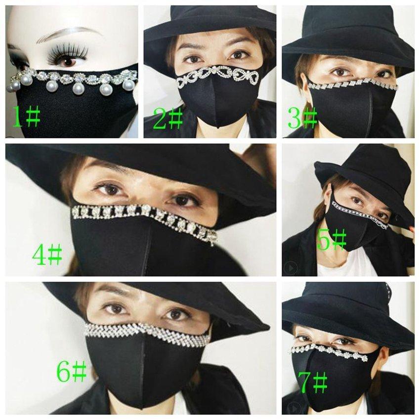 Yetişkin Siyah Şık Ağız Maskesi Resuable Pırıltılı İnciler Rhinestones Bling Pamuk Yüz Maskeleri Ljjk2411 M9m6 #