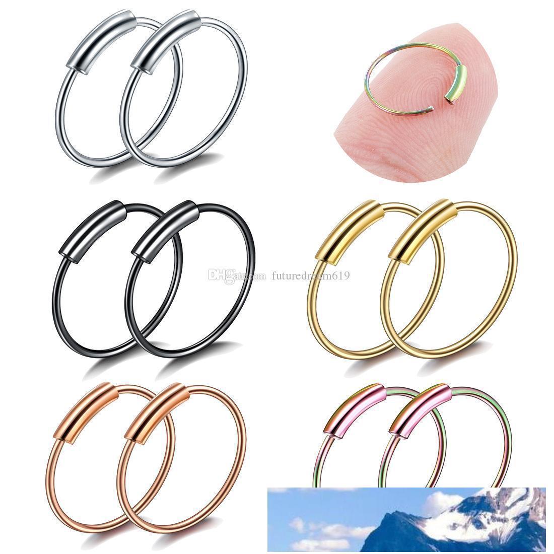 Nariz suena la joyería Piercing joyas de moda nariz de acero inoxidable Abiertas aro de anillo pendiente Espárragos