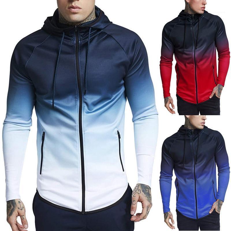 Gradient Farbe Elastic Langärmlig Stehkragen Strickjacke mit Kapuze Hoodies Herrenmode 19AW Herren Entwerferhoodies-Aktiv-Art